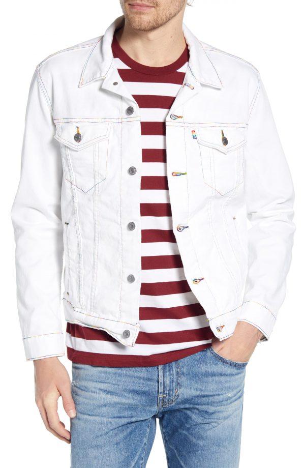 Men's Levi's Rainbow Embroidered Trucker Jacket, Size Large - White