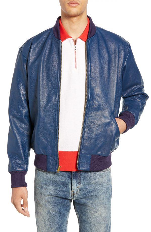 Men's Levi's Vintage Clothing Climate Leather Bomber Jacket, Size Medium - Blue