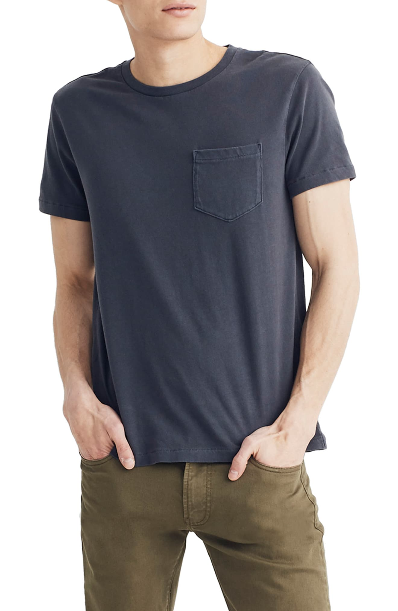 Men's Madewell Allday Slim Fit Garment Dyed Pocket T-Shirt, Size Small - Black