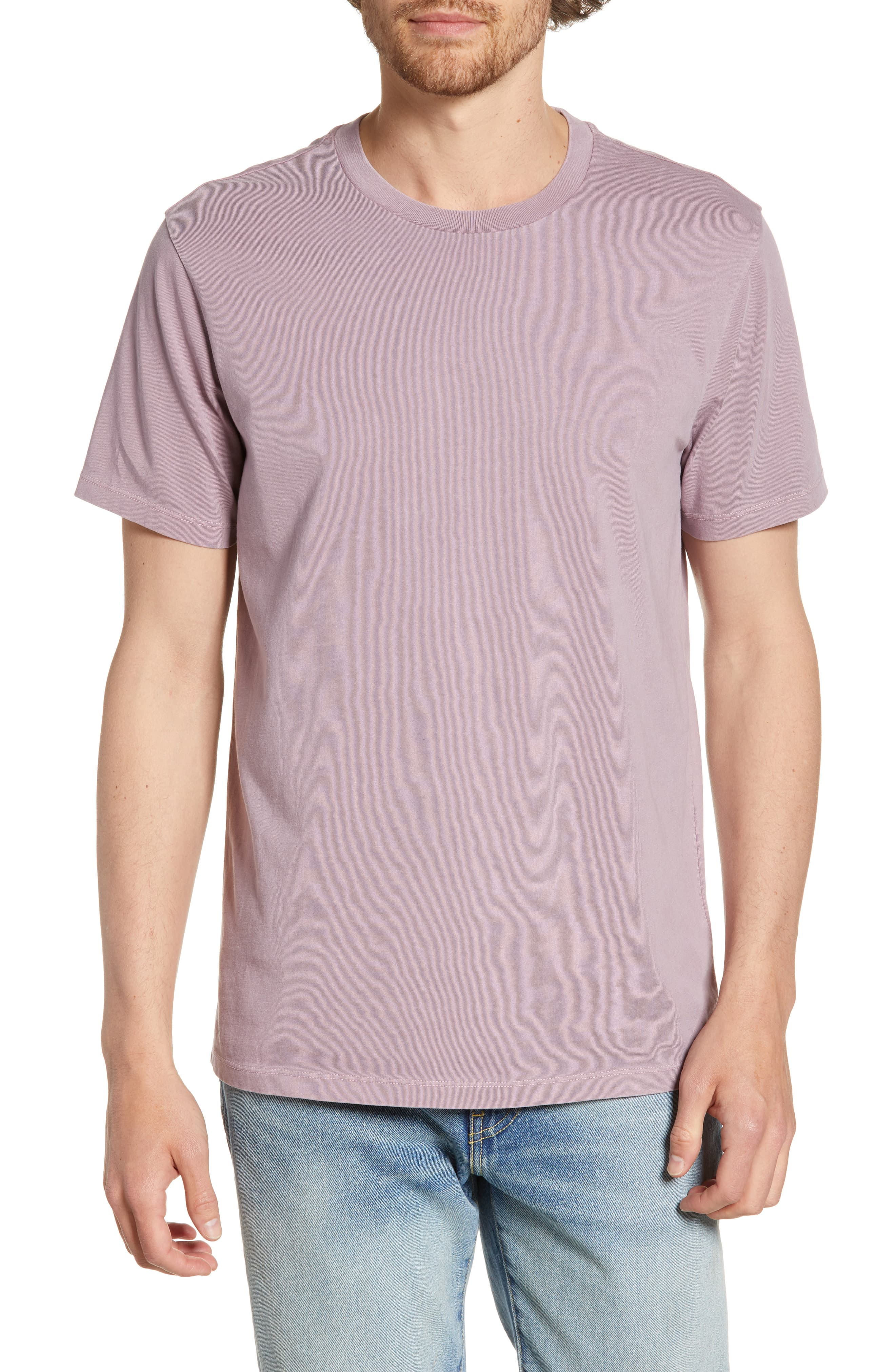 Men's Madewell Allday Slim Fit Garment Dyed T-Shirt, Size Large - Purple