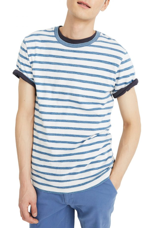 Men's Madewell Indigo Mariner Stripe Allday Crewneck T-Shirt