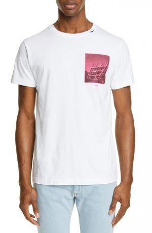 Men's Off-White Slim Fit Halftone Arrow Graphic T-Shirt