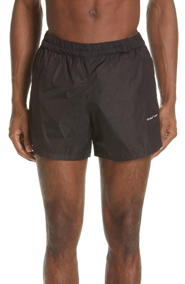 Men's Off-White Swim Trunks, Size X-Large - Black