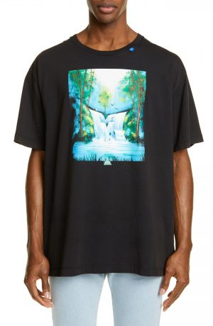 Men's Off-White Waterfall Graphic Oversize T-Shirt