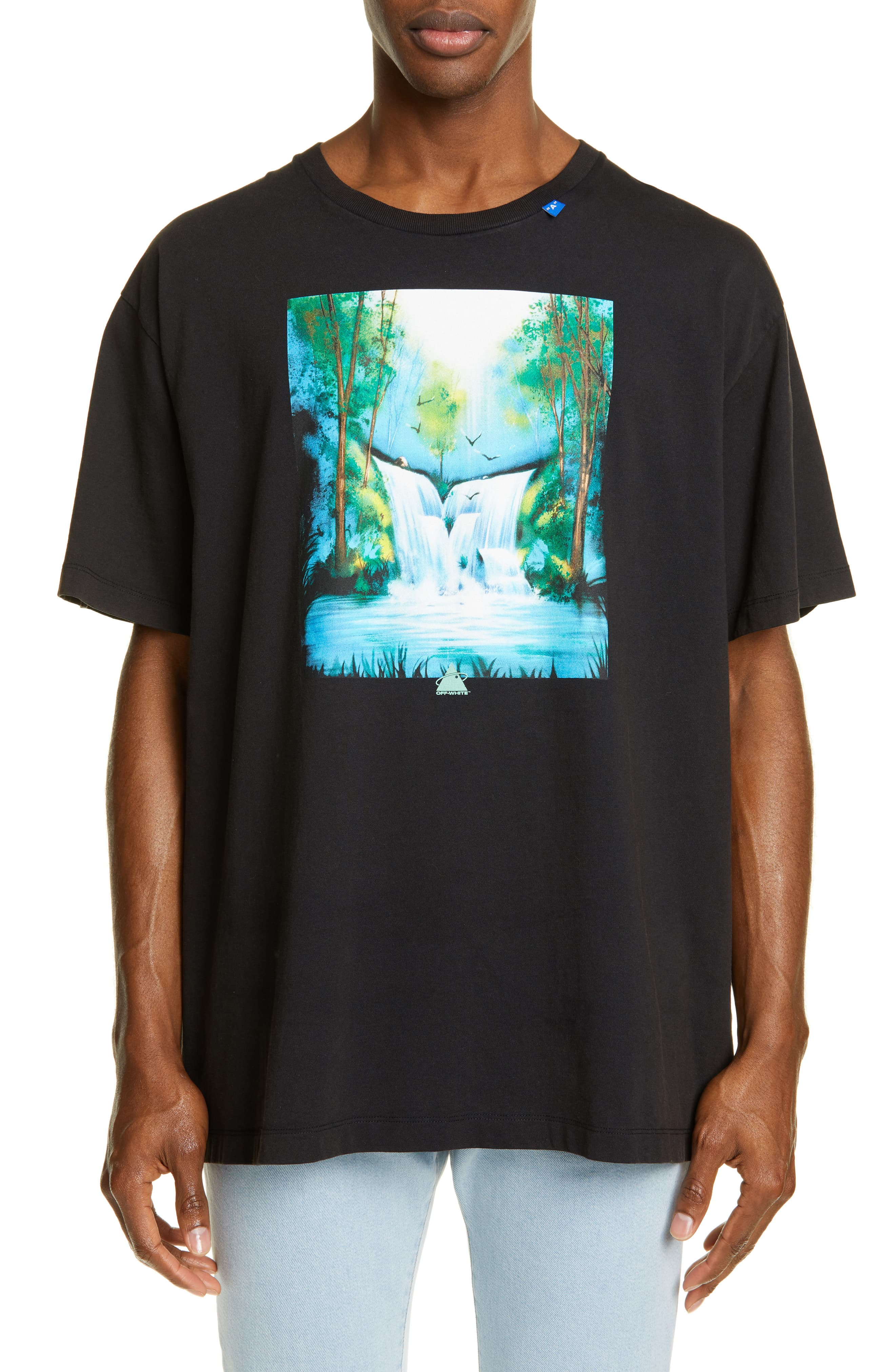 570fc20e Men's Off-White Waterfall Graphic Oversize T-Shirt | The Fashionisto