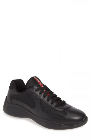 Men's Prada Americas Cup Sneaker, Size 8.5US / 7.5UK - Black