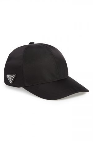 Men's Prada Nylon Ball Cap - Black