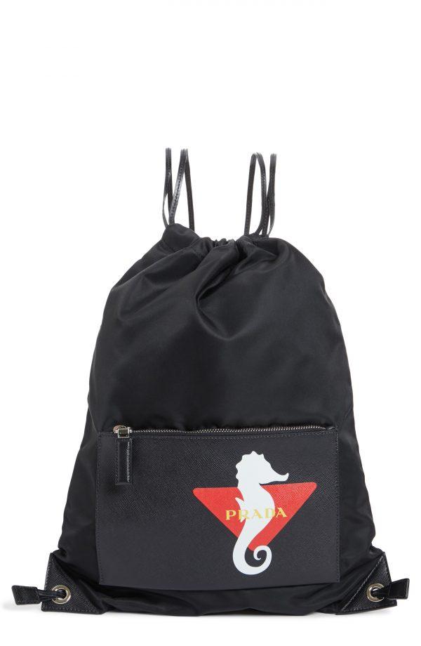 Men's Prada Technical Fabric Drawstring Backpack - Black