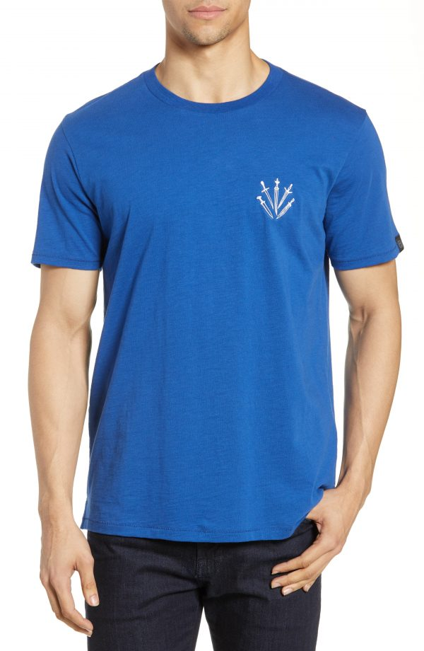 Men's Rag & Bone Dagger Embroidered T-Shirt, Size Small - Blue