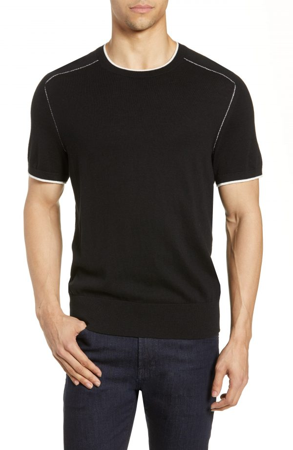 Men's Rag & Bone Evens Slim Fit Tipped T-Shirt Sweater, Size Small - Black