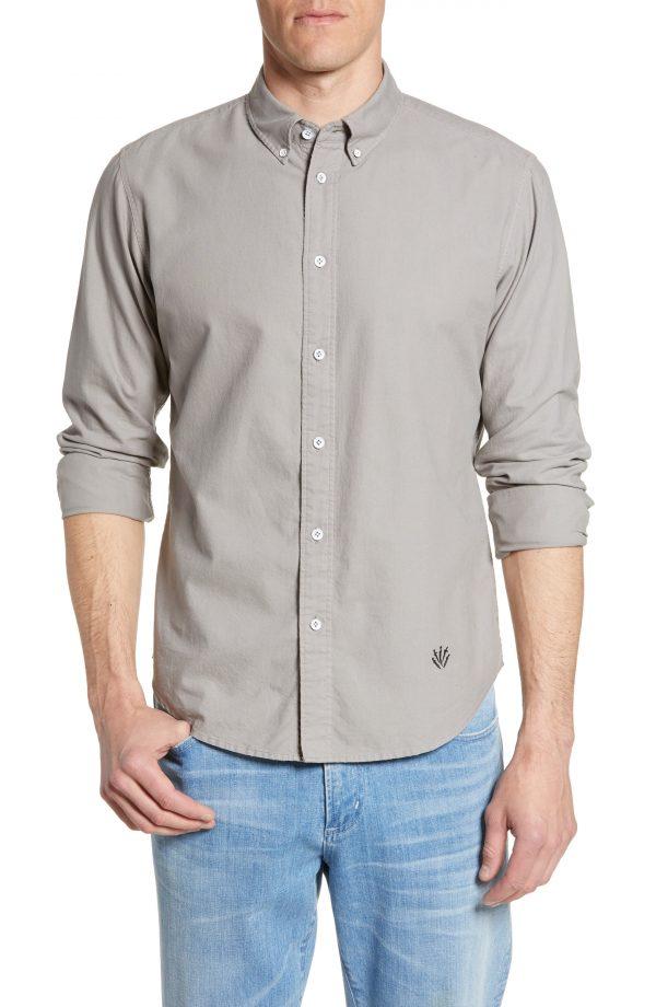 Men's Rag & Bone Fit 2 Tomlin Slim Fit Oxford Sport Shirt, Size Small - Grey