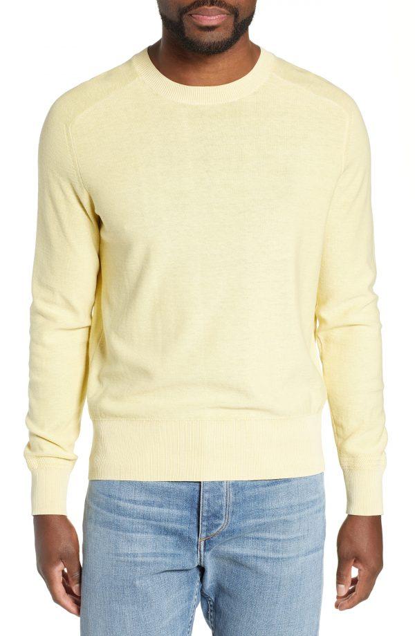 Men's Rag & Bone Lance Slim Fit Crewneck Sweater, Size Medium - Yellow