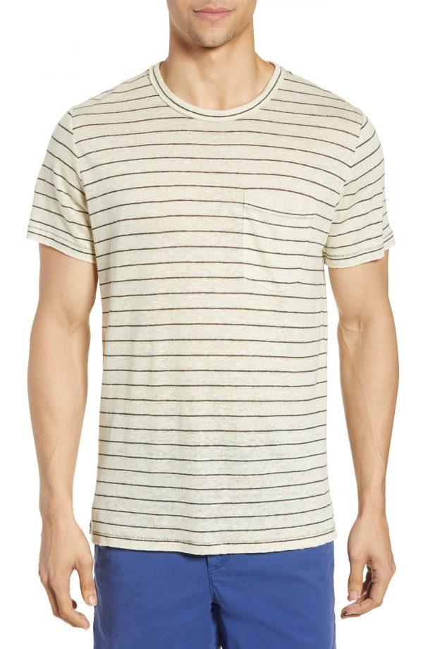 Men's Rag & Bone Owen Stripe Linen Pocket T-Shirt, Size Small - Grey