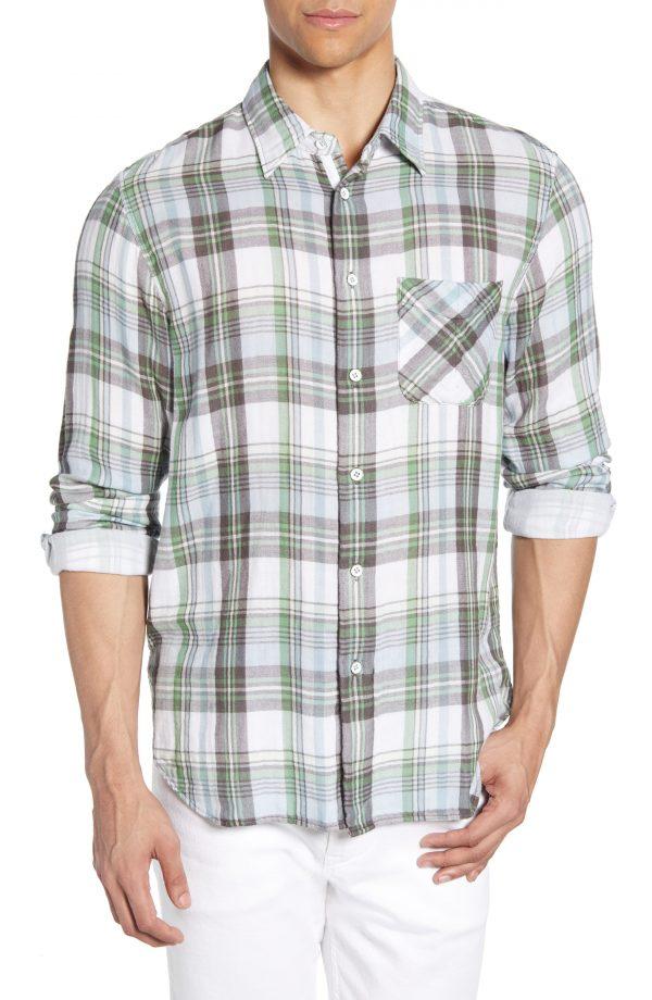 Men's Rag & Bone Plaid Beach Shirt, Size Small - Green