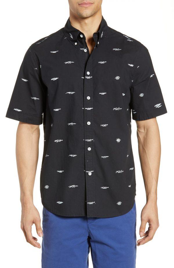 Men's Rag & Bone Smith Logo Pattern Slim Fit Woven Shirt, Size Small - Black