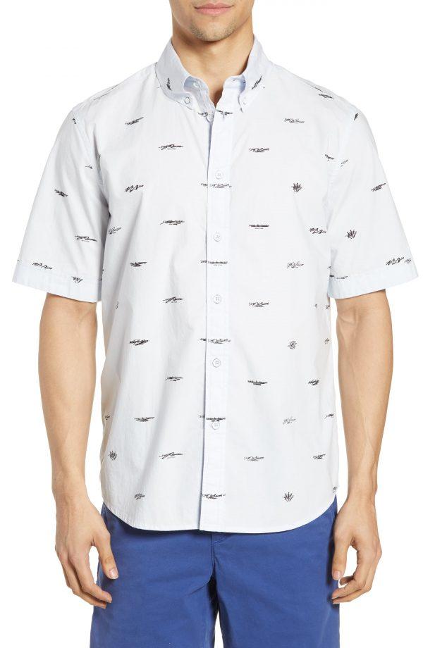 Men's Rag & Bone Smith Logo Pattern Slim Fit Woven Shirt, Size Small - Blue