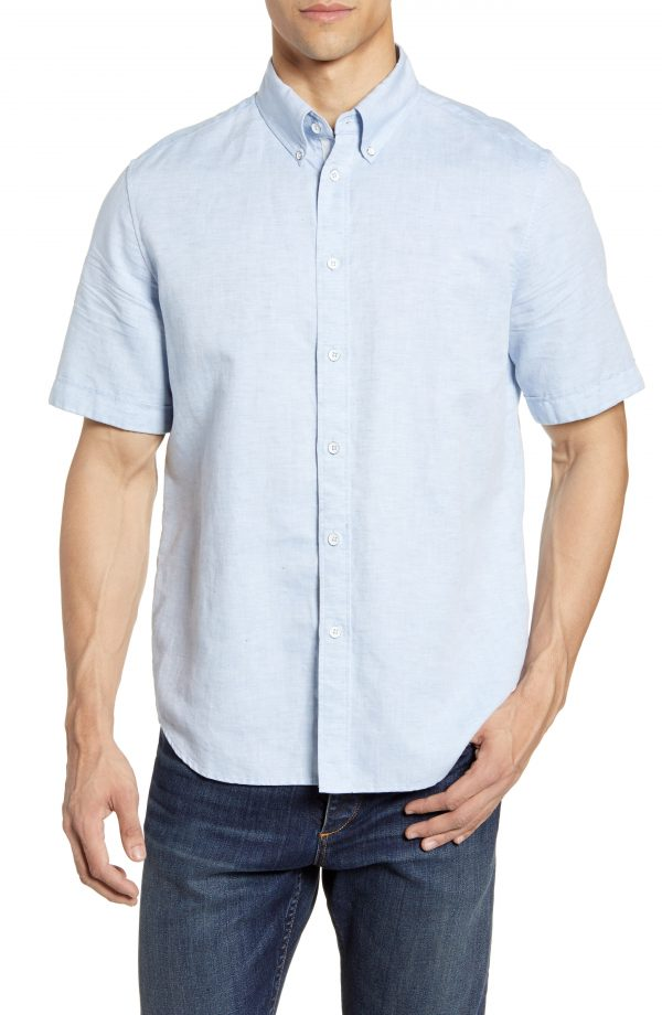 Men's Rag & Bone Smith Slim Fit Solid Short Sleeve Button-Down Sport Shirt, Size Small - Blue