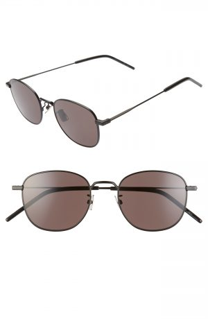 Men's Saint Laurent 50Mm Square Sunglasses - Semi Matte Black