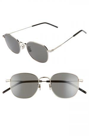 Men's Saint Laurent 50Mm Square Sunglasses - Silver