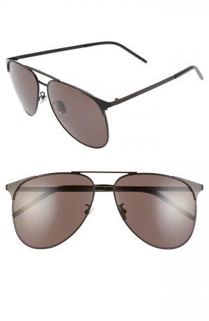 Men's Saint Laurent 61Mm Aviator Sunglasses - Silver