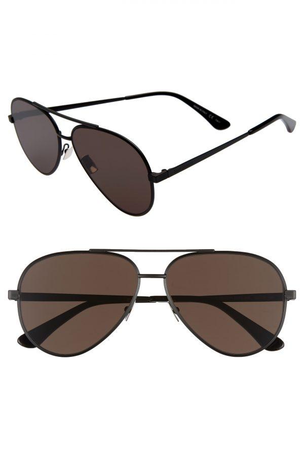 Men's Saint Laurent Classic 60Mm Aviator Sunglasses - Black