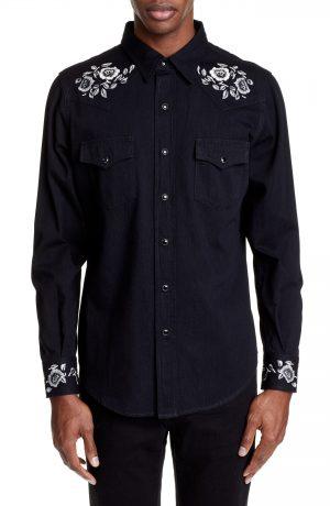 Men's Saint Laurent Embroidered Western Shirt, Size Large - Black