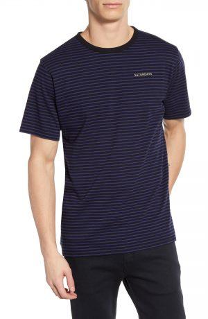 Men's Saturdays Nyc Brandon Feeder Stripe T-Shirt, Size Small - Blue