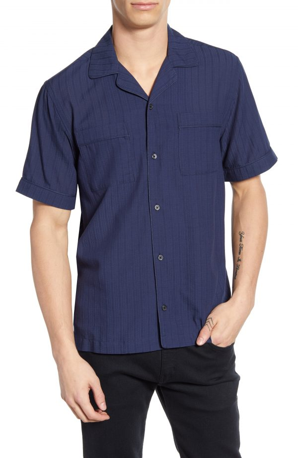 Men's Saturdays Nyc Cameron Dobby Solid Camp Shirt, Size Small - Blue