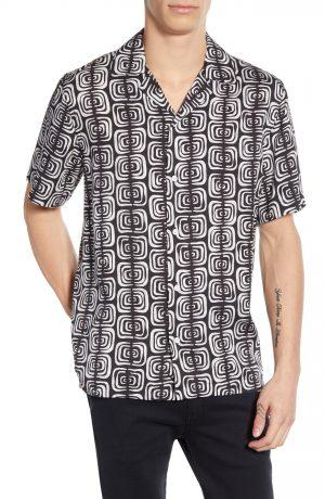 Men's Saturdays Nyc Canty Kuba Print Camp Shirt, Size Small - Black