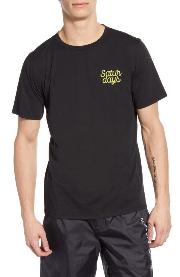 Men's Saturdays Nyc Script Logo Graphic T-Shirt, Size Small - Black