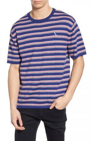 Men's Saturdays Nyc Stripe Short Sleeve Sweater, Size Small - Blue