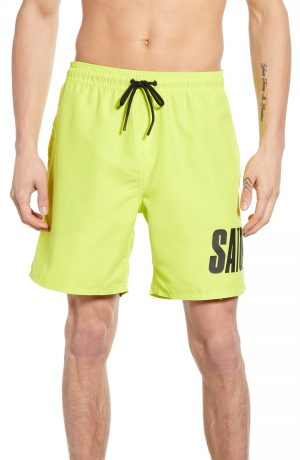 Men's Saturdays Nyc Timothy Accordian Swim Trunks, Size Small - Green