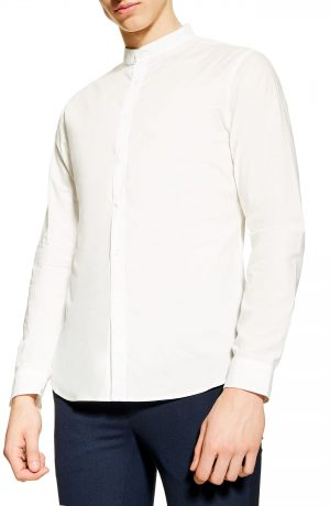 Men's Topman Grandad Slim Fit Poplin Shirt, Size Medium - Blue