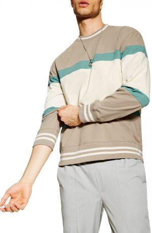 Men's Topman Max Stripe Sweatshirt, Size Large - Beige