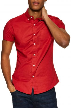 Men's Topman Muscle Fit Oxford Shirt, Size Medium - Red