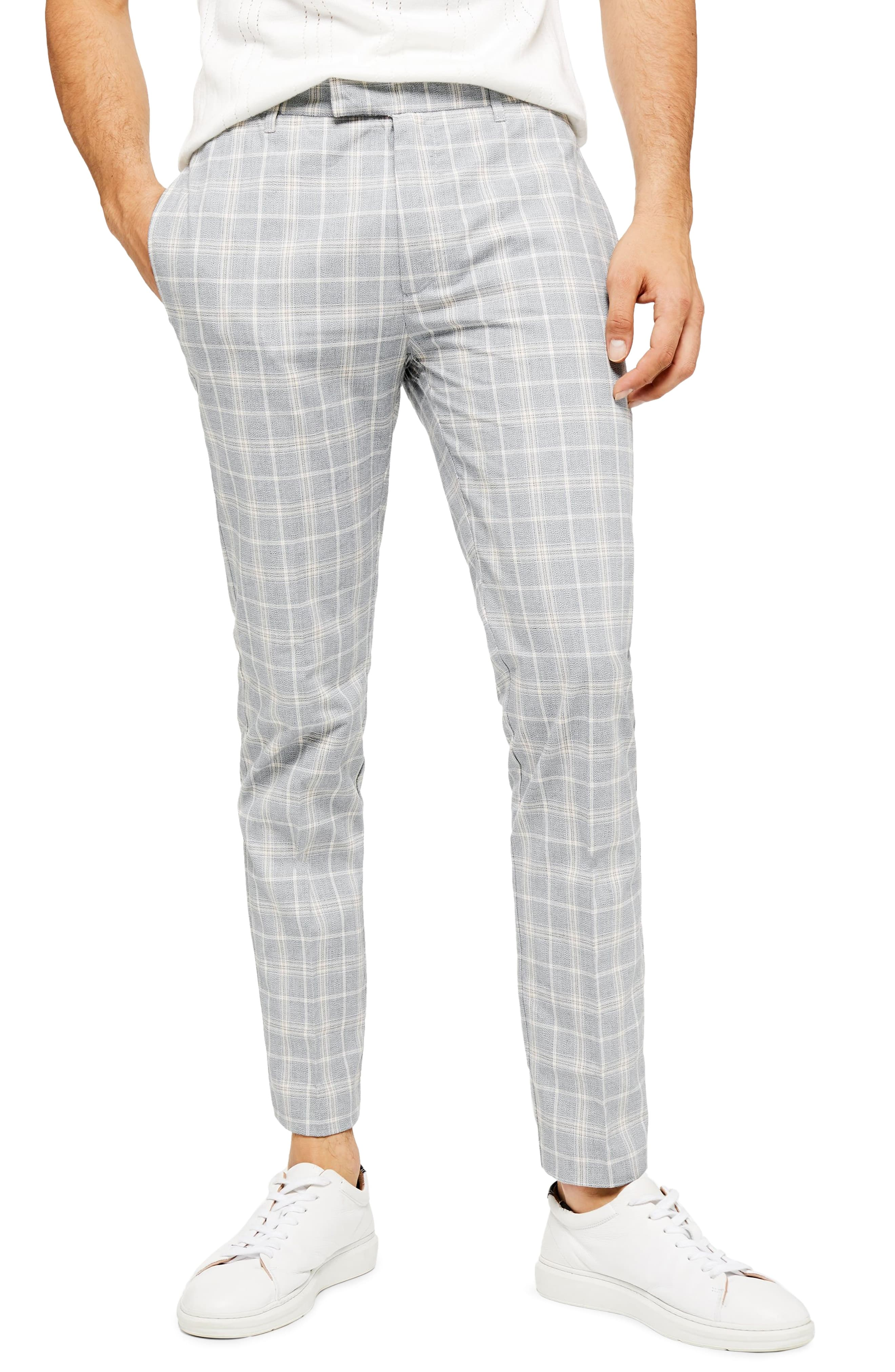 99e1e1c23f Men's Topman Myth Check Skinny Fit Trousers, Size 28 x 32 – Grey ...