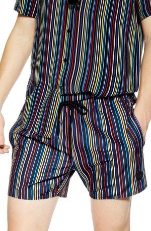 Men's Topman Pinstripe Swim Shorts, Size X-Large - Black