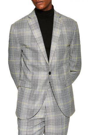Men's Topman Single Breasted Check Slim Suit Jacket, Size 34 32 - Grey