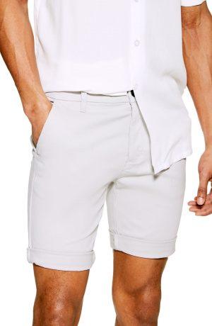 Men's Topman Stretch Skinny Chino Shorts, Size 28 - Grey