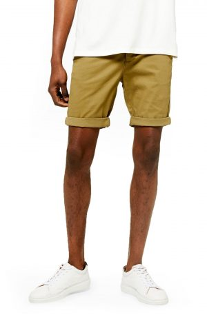 Men's Topman Stretch Skinny Chino Shorts, Size 36 - Green