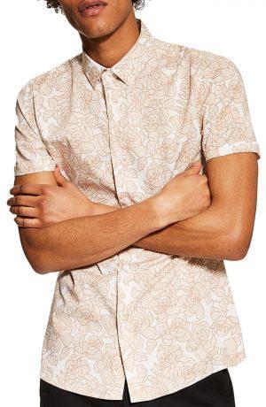 Men's Topman Stretch Skinny Fit Floral Shirt, Size Medium - Beige
