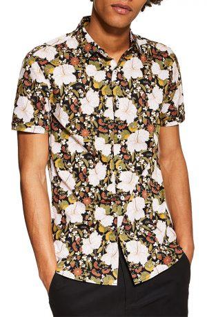 Men's Topman Stretch Skinny Fit Floral Sport Shirt, Size Medium - Black