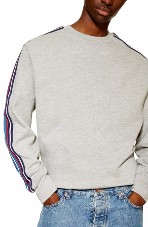 Men's Topman Tape Crewneck Sweatshirt, Size Medium - Grey