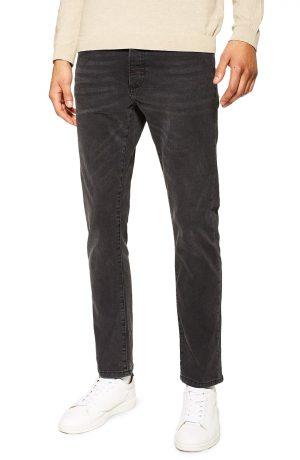 Men's Topshop Washed Stretch Slim Fit Jeans, Size 36 x 34 - Black