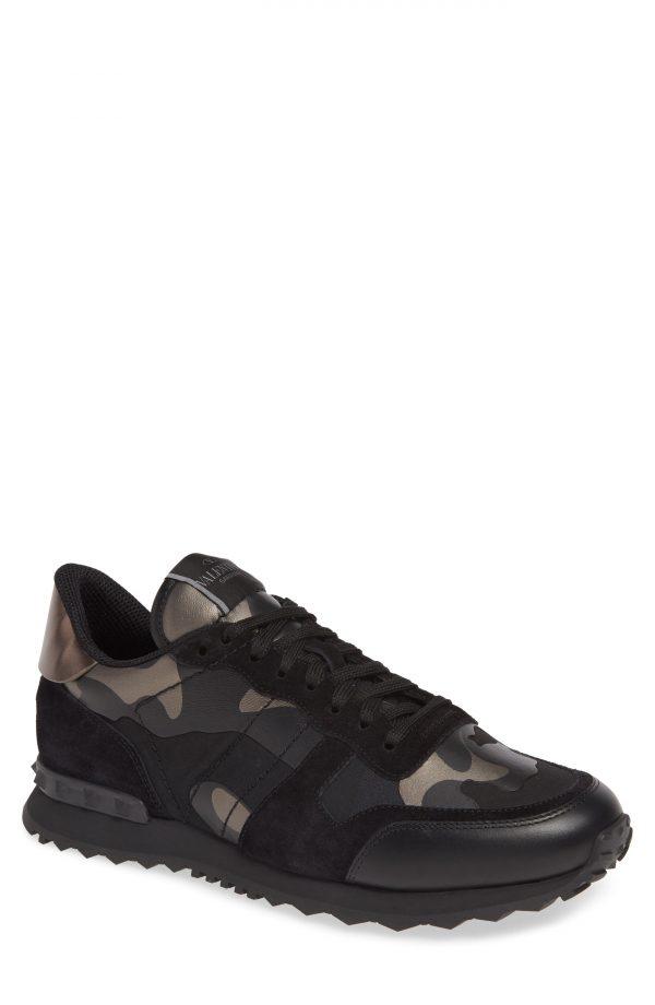 Men's Valentino Garavani Camo Rockrunner Sneaker, Size 11US / 44EU - Black