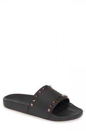 Men's Valentino Garavani Rockstud Slide Sandal, Size 9US / 42EU - Black