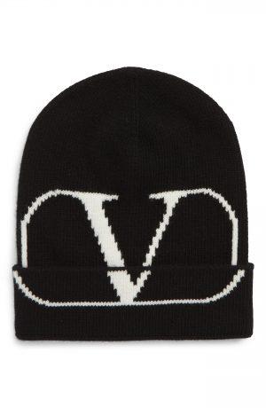 Men's Valentino V-Logo Wool & Cashmere Knit Cap - Black