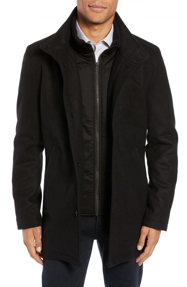 Men's Vince Camuto Classic Wool Blend Car Coat With Inset Bib, Size Large - Black