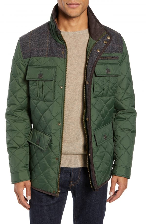 Men's Vince Camuto Diamond Quilted Full Zip Jacket, Size Medium - Green