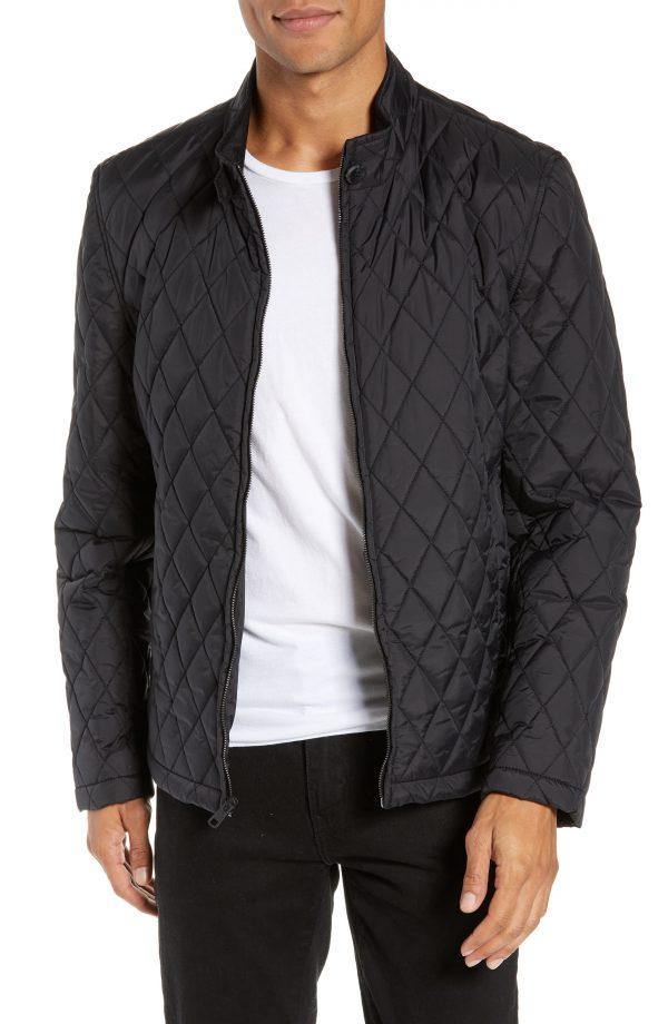 Men's Vince Camuto Quilted Moto Jacket, Size Large - Black